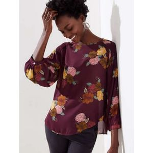 Loft Maroon/Purple Floral Smoked Shoulder Blouse